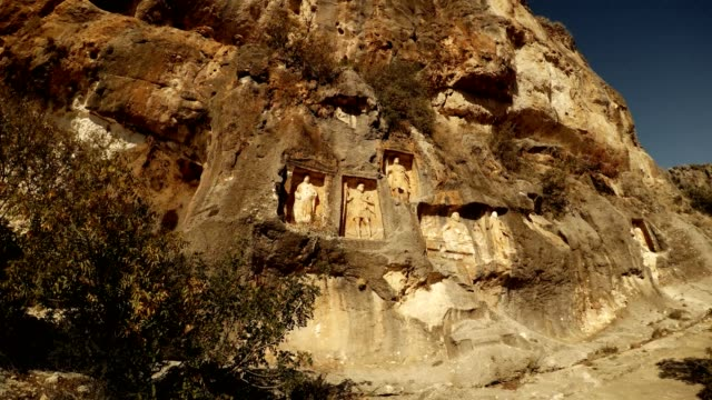 Panorama from left to right The Man Rocks figures in niches Adamkayalar Mersin province Turkey video