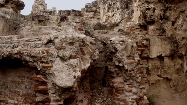 Panorama from right to left destroyed corridors of antique town Salamis east Cyprus Famagusta video