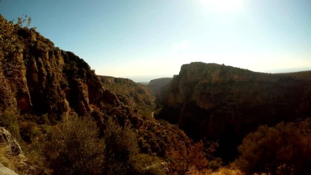Panorama Gorge Seytanderesi near antique city Adamkayalar far sea sunny day Mersin province Turkey video