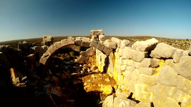 Panorama inside view ruins of The most extant build with Polygonal laying close up Adamkayalar Mersin province Turkey video