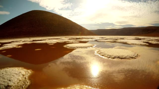Panorama Meke lake ginger salt water with reflections of sky sunny day video