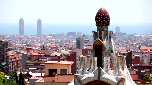 Panorama of Barcelona and Gaudi building video