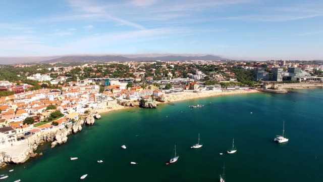 Panorama of beautiful beach in Cascais Portugal aerial view video