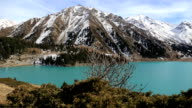 Panorama of beautifull mountain lake landscape in Almaty video