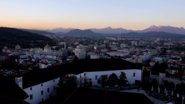 AERIAL: Panorama of big city at sunset video