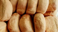 Panorama of bread, close-up video