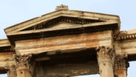 Panorama of destroyed ancient construction, marble Arch of Hadrian in Athens video