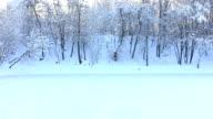 Panorama of frozen lake in the winter video