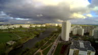 Panorama of residential district in Moscow, Russia. time lapse video