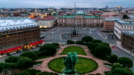 Panorama of Saint Isaac's Square from Saint Isaac's Cathedral in the summer timelapse. St Petersburg. Russia video