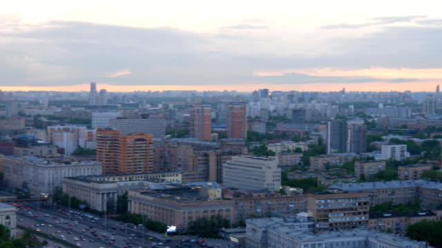 Panorama of the city, in the evening. On the Sunset. video