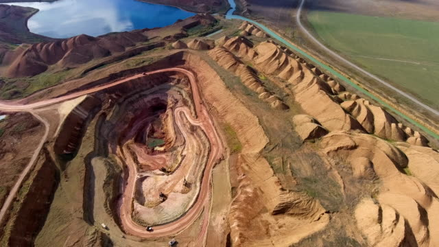 Panorama of the quarry. Artificial lake. Sunset. Horizon. Development of minerals. video