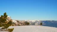 Panorama of the snow-covered Crimean mountains from the top of the mountain Ai-Petri video