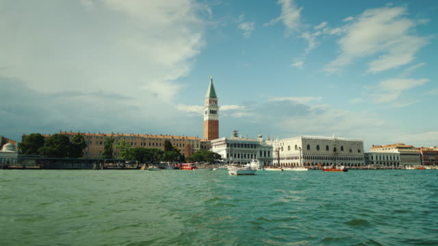 Panorama of Venice with the Palace of Dodges. Clear sunny day, view from a floating ship video