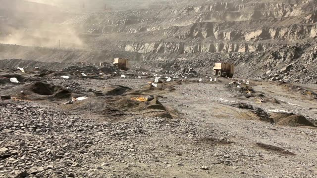 Panorama of work in the iron ore quarry video