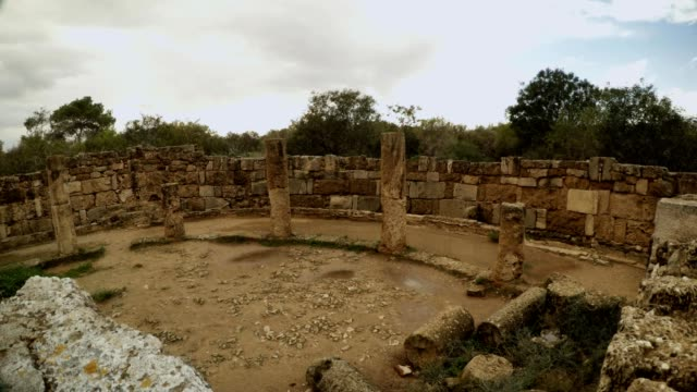 Panorama Public latrines ruins ancient town Salamis east Cyprus Famagusta video