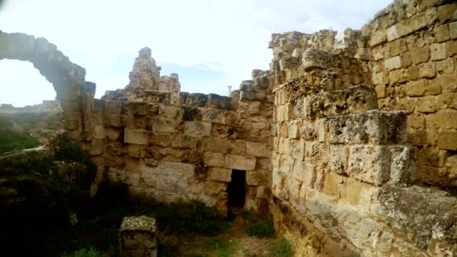 Panorama Reconstruction of anciant walls and arch antique town Salamis east Cyprus Famagusta video