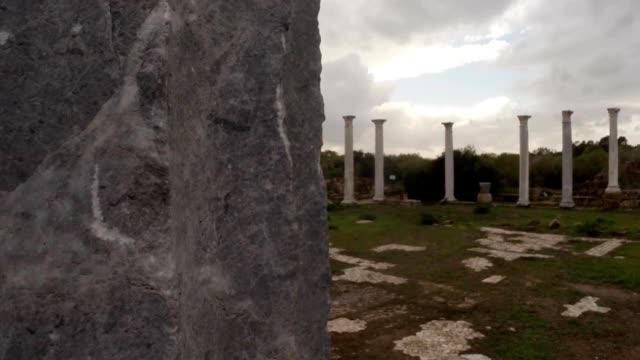Panorama Roman agora white antique columns ancient town Salamis east Cyprus Famagusta video