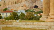 Panorama shot of territory around ancient temple ruins, column pieces on ground video