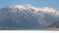 Panorama view of beautiful Austrian Alps, high mountain range, mirror-like video