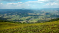 Panorama view of clouds and beautiful green fields video