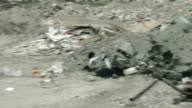 Panorama view of neglected landfill site. Tones of waste contaminating video