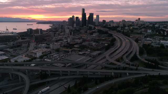 Panoramic Aerial Cityscape View of Downtown Seattle Skyline at Dusk with Pink Sunset video