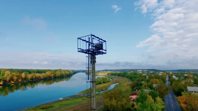 Panoramic aerial shooting of picturesque river landscape on autumn day video