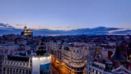 Panoramic aerial view of Gran Via day to night timelapse, Skyline Old Town Cityscape, Metropolis Building, capital of Spain, Europe video
