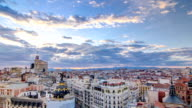 Panoramic aerial view of Gran Via timelapse at sunset, Skyline Old Town Cityscape, Metropolis Building, capital of Spain, Europe video