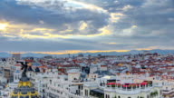 Panoramic aerial view of Gran Via timelapse before sunset, Skyline Old Town Cityscape, Metropolis Building, capital of Spain, Europe video