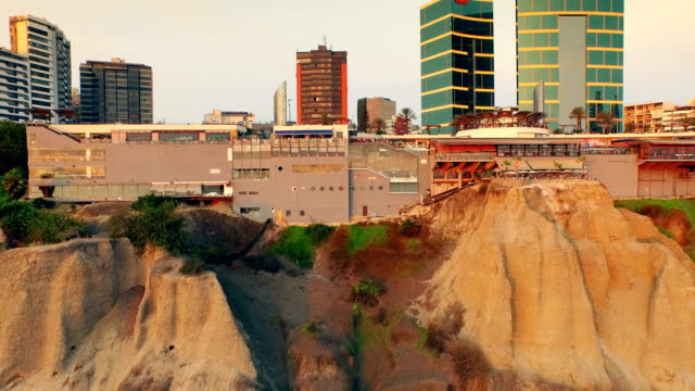 Panoramic aerial view of Larcomar at Miraflores town in Lima, Peru. video