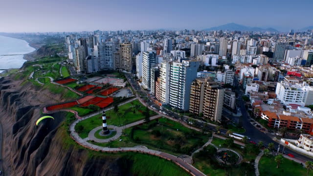Panoramic aerial view of Miraflores town in Lima, Peru. video