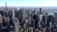 Panoramic and aerial view of Manhattan buildings in New York City, NY, USA. New york city skyline aerial view at sunset. Urban metropolis landmark scenery background. video