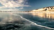 Panoramic movement on Lake Baikal in winter video