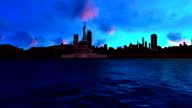 Panoramic Of Statue Of Liberty Sunset video