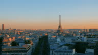 Panoramic roofs of Paris during a beautiful sunset. video