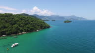 Panoramic shot made with drone on the coast of a Brazilian island video