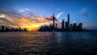 Panoramic skyline of Shanghai timelapse video