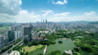 Panoramic skyline,buildings and traffics in shenzhen, time lapse. video