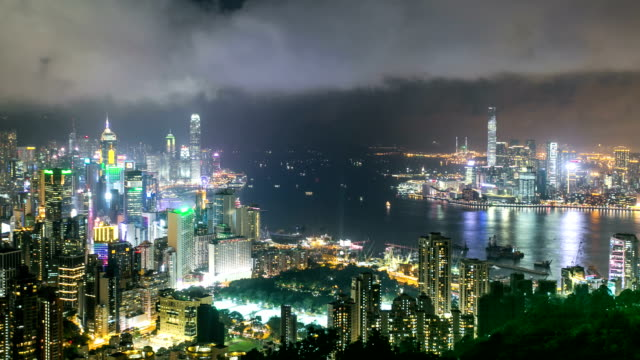 Panoramic skyline,illuminated modern buildings of hong kong.time lapse.high angel view. video