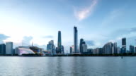 Panoramic skyline,modern buildings of Guangzhou at riverbank day to night video