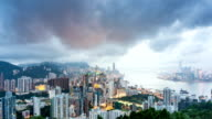 Panoramic skyline,modern buildings of hong kong at victoria harbor.time lapse. video