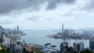 Panoramic skyline,modern buildings of hong kong.time lapse. video