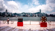 Panoramic skyline,tourists,modern buildings of hong kong.time lapse. video