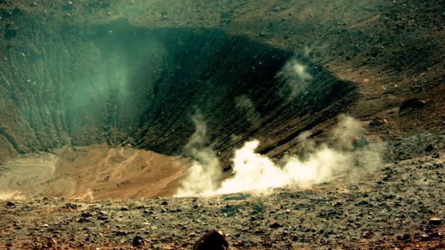 Panoramic time-lapse wide shot of Sicilian Egadi Volcano's island fumarole releasing white steam video