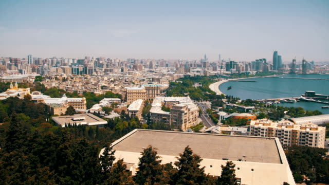 Panoramic Vew from Above to the City of Baku, Azerbaijan video