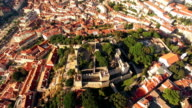 Panoramic view Castle of Sao Jorge and Alfama Lisbon aerial video