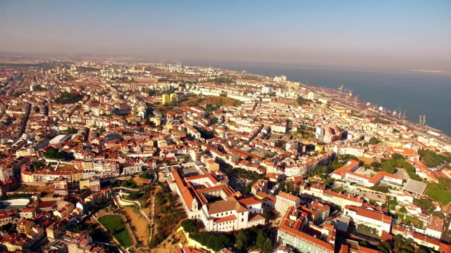Panoramic view Castle of Sao Jorge Lisbon aerial video