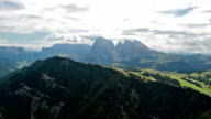 Panoramic view from Bullaccia of Platkofel and Ortisei video